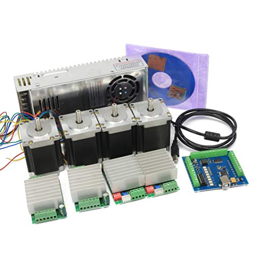 Nema23 CNC 4 Axis Stepper Motor Kit 270oz-in 76mm 3A+TB6600 Driver 4.5A 10-45V+Mach3 USB Board Motion Control Card CNC Controller Kit w  350W 24V Power Supply for CNC Router Milling Engraver Machine