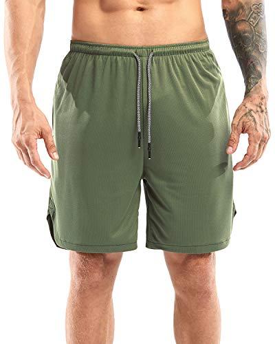 Yidarton Shorts Herren Sport Sommer 2 in 1 Kurze Hosen Schnelltrocknende Laufshorts Fitness Joggen und Training Sporthose mit Taschen (334-Grün, Large)