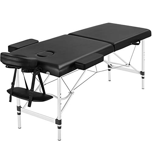 Topeakmart Adjustable Massage Bed Folding Salon Bed Massage Couch Portable Alloy Supports Spa Table with Headrest/Armrest/Hand Pallet Black