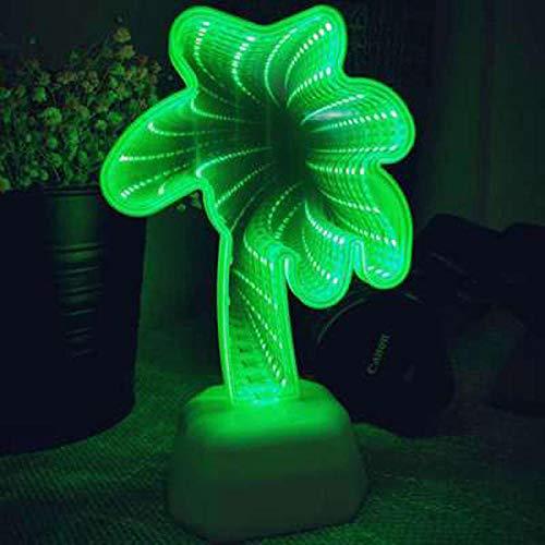Tunnel Lichter unendliche Spiegel Licht LED Atmosphäre Nachtlicht niedlich 3D Herz Einhorn Urlaub Geburtstag Liebhaber Geschenk-Kokosnussbaum