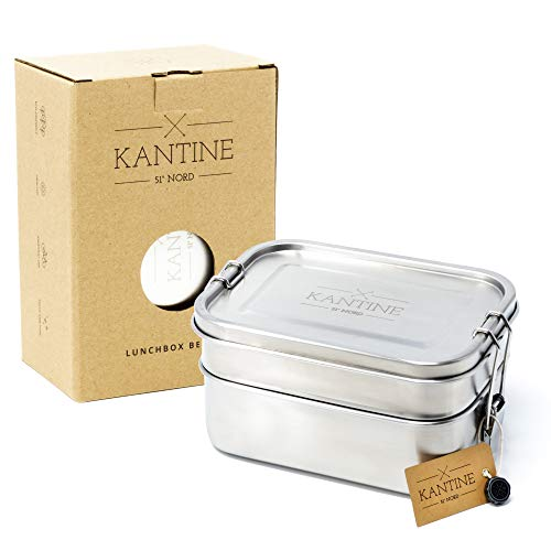 Kantine 51° Nord ® Lunchbox Bento | Auslaufsichere 1200ml Edelstahl Brotdose mit 2 Fächern