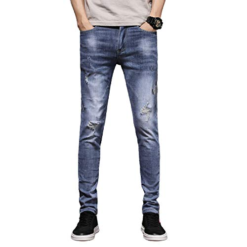 Jubaton Summer Men's Classic Mid-Waist Washed Slim Jeans, Personality Ripped Holes, Simple and Fashionable Street Trousers 35 Light Blue