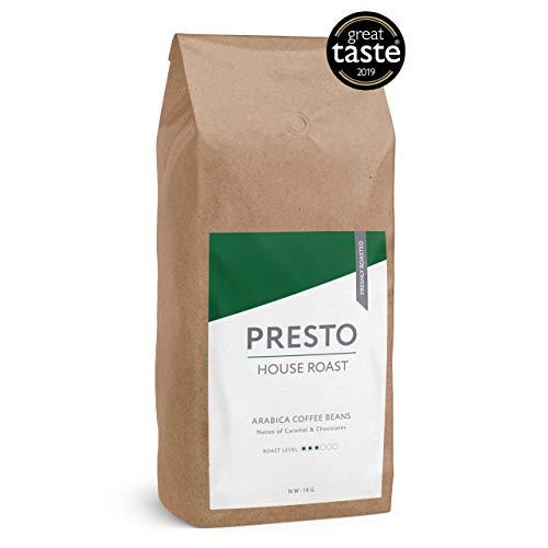 German: Presto-Kaffeebohnen - Cafè Brazilian - Leichte Röstung, ganze Kaffeebohnen 1 kg - Feiner Arabica - Perfekte für Kaffeevollautomaten- Gewinner des Great Taste Award 2019 - (1 x 1 kg)