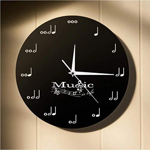 tyjsb La música es la Vida Reloj de Pared Inspirador Notas Musicales Reloj Musical Clave de Sol Stave Estudio de música Reloj de Pared Colgante Regalo de músico 30X30cm