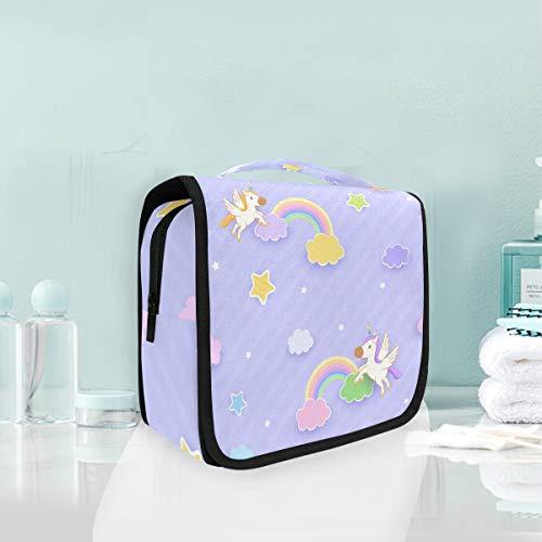 Arco Iris De Unicornio Volador Púrpura Trousse De Toilette Sac Pliable Suspendu Cosmétique Sac Rangement Maquillage sacs pour Voyage Femmes Filles