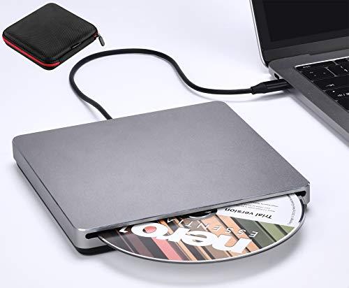 External DVD Drive NOLYTH USB 3.0/Type-C Portable CD DVD+/-RW Drive Burner Player for Laptop Mac MacBook Air Pro PC Windows iMac Desktop(Grey)