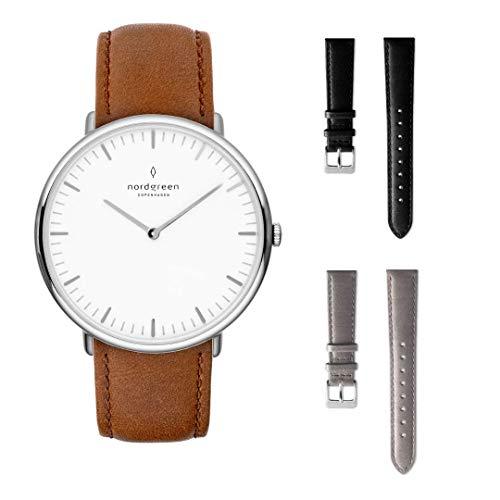 Nordgreen Native Set: Silber Unisex Analog Uhr 40mm (L) mit Lederarmband Braun Plus Zwei Armbänder: Leder Schwarz und Leder Grau 15005