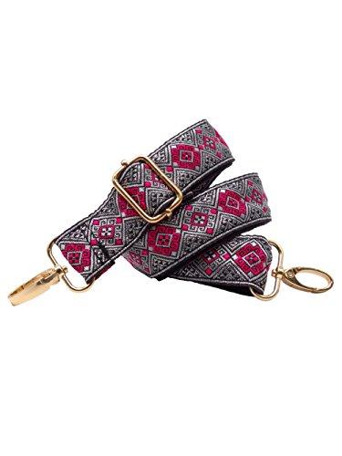 BENAVA Taschengurt Bunt - Schulterriemen für Handtaschen und Taschen mit Karo Muster – Verstellbar 60-120 cm mit Karabiner Gold