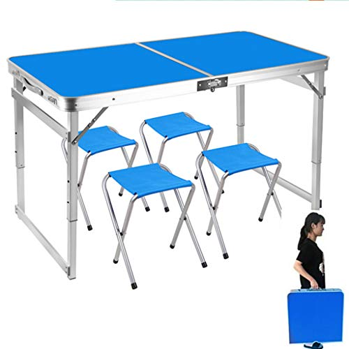 AQUYY Opvouwbare picknick tafel, draagbare lichtgewicht aluminium in hoogte verstelbare werkbank met 4 krukken geschikt voor buiten, wandelen, camping, barbecue