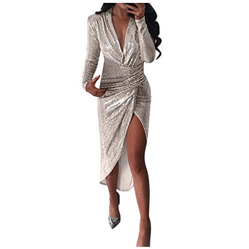 iYmitz Paillettenkleid Sexy Damen V-Ausschnitt Pailletten UnregelmäßIges Kleid Damen Langarm Glänzend Cocktailkleid Pailletten Elegant Abendkleider (3 Farbe,Größe S/M/L/XL)