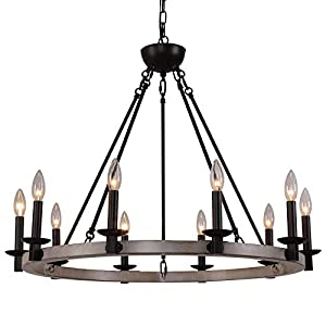 Q&S Large Wagon Wheel Chandelier,Rustic Industrial Country Antique Farmhouse Chandelier for Dining Room Entryway Foyer Kitchen Living Room