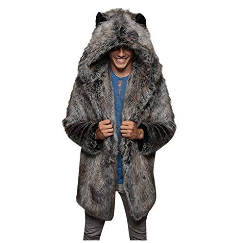 Skxinn Pelzmantel/Herren Kunstpelz Jacke Felljacke Leopard Muster Design Wind Coat, Winterjacke Mantel Kunstpelz Lange Jacke Faux Fur Warm Winterjacke(Grau,XXX-Large)
