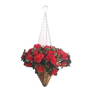 Red Azalea Fake Silk Flower Lifelike Hanging Wicker Cone Basket Artificial Flowers Rhododendron for Decoration