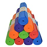 Upward Fit 10 Yoga Mats In Bulk For Schools Kids PE Adults - Non Slip - Latex Free - 10 pack set of Easy to Clean exercise, outdoor and social distancing mats 68' x 24' x 4mm (Assorted)