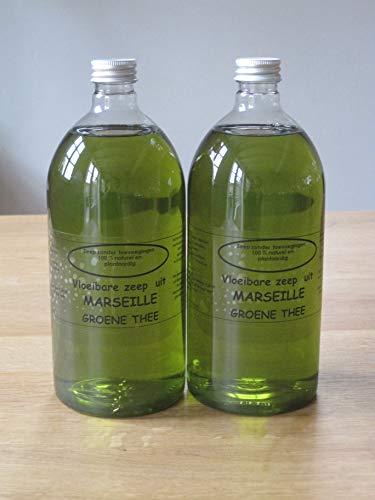 Vloeibare Marseille zeep pompje 2x 1 liter Groene Thee