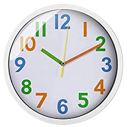 Colorful Kids Wall Clock 12 inch Silent Non Ticking Quality Quartz Battery Operated Wall Clocks, Easy to Read,Large Decorative/Bedroom/School White Frame