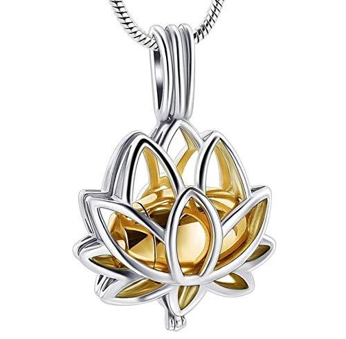 N / D Collar De Cremación Lotus Ashes Collar Collares Pendientes Cadena de eslabones Corazón Metal Mujer Acero Inoxidable Clásico
