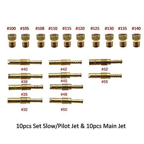 DZJUKD Ligero Duradero 10pcs / Secado Lento for Pilotos de Combate y 10PCS inyectores Principal Avión PWK Keihin OKO KOSO Mikuni PE CVK carburador Carburedor Vice Jet Principal del carburador
