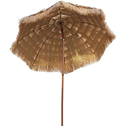 Paraguas Tiki Hawaiano de Paja,Sombrilla Portátil Hula con Mecanismo de Inclinación,Protección UV Sombrillas de Jardín para Piscina Sombrilla de Playa Pequeña para Bistró (Ø 6 Pies / 2,1 M)