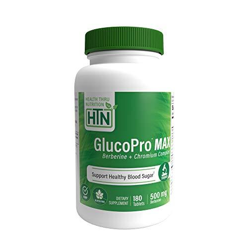 GlucoPro Max with Berberine 500mg, Chromium as Crominex 3+ 134mcg, Cinnamon 333mg and Riboflavin 1mg 180ct by Health Thru Nutrition