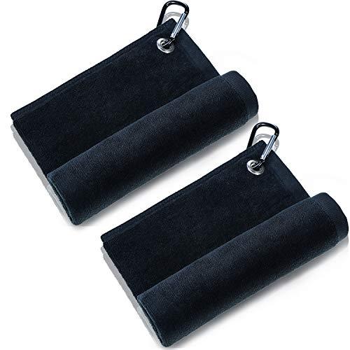 Tatuo 2 Packungen Mikrofaser Golf Handtuch Golf Reinigungstuch mit Clip für Golf Yoga Camping Gym