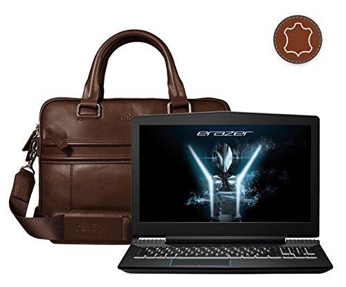 Leder Laptoptasche für Damen/Herren passend für Medion Erazer X6603   Braun