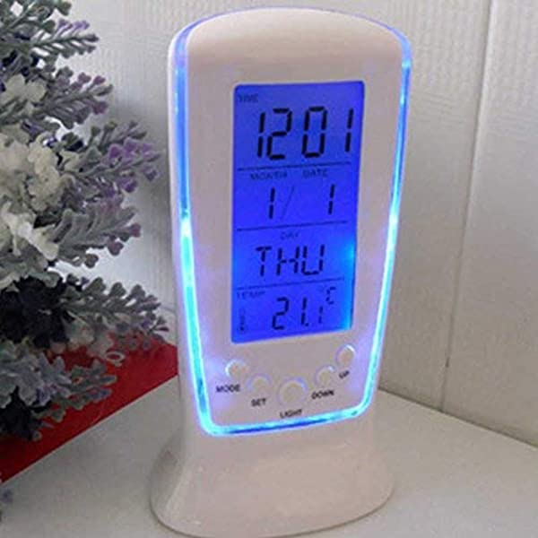 Tcplyn Premium Quality Clock LED Digital Alarm Clock With Blue Backlight Electronic Calendar Thermometer Gift