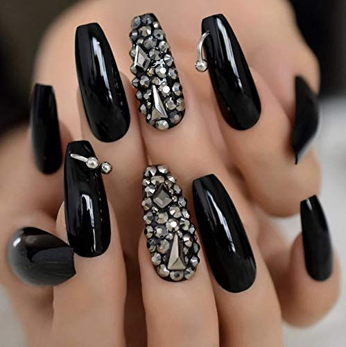 EDA LUXURY BEAUTY BLACK DARK SILVER 3D LUXE JEWEL DESIGN Press On Nails Full Cover Acrylic Nail Kit Artificial Nail Tips…