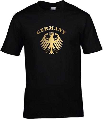 T-Shirt Herren WM Shirt Deutschland Fussball Bundesadler Germany Schriftzug Deutschland 2018, T-Shirt, Grösse XXXXL, schwarz
