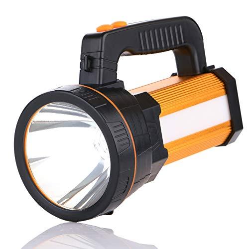 LED Handscheinwerfer Suchscheinwerfer,Wiederaufladbar USB Taschenlampe 6000 Lumen 6000mAh kann Verwendet Werden als Power Bank Flashlight Laterne Camping IPX4 Wasserdicht(Golden)