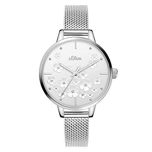 s.Oliver Damen Analog Quarz Uhr mit Edelstahl Armband SO-3837-MQ