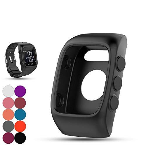 Saisiyiky Reloj reemplazo Banda Cubierta Protectora Manga, Silicona Protectora Bolsa para Unisex M400 / M430 Reloj GPS(Negro)