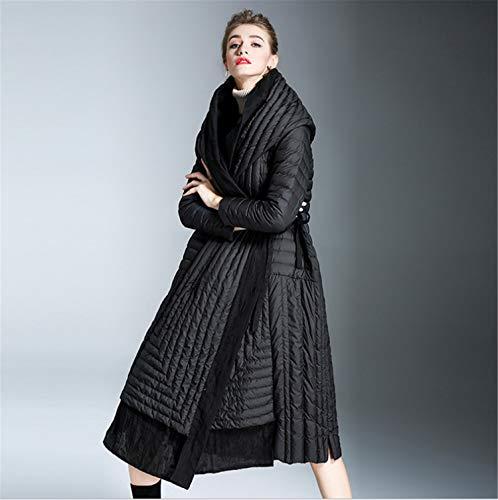 BIANJESUS dames donsjas met bont hood dikkere winterslim down lammy jas lange gewatteerde jas zwart