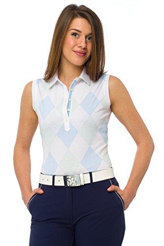 Amelia Damen Poloshirt ohne Ärmel, 100 % Baumwolle, Pima, Jersey mit Rautenmuster S sky/pastel green