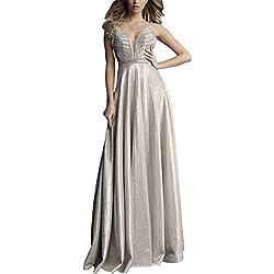 Champagne Metallic Prom Long Formal Dress