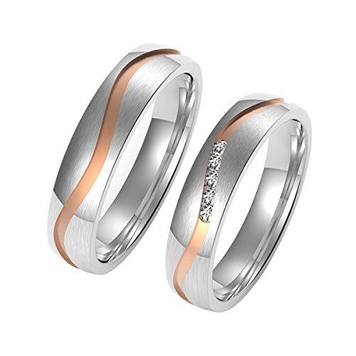 Amtier Paar-Ring Edelstahl-Ringe für Paar Eheringe Herrenring Damenringe 5mm mit Geschenkbox, Damen 074, 54 (17.2)