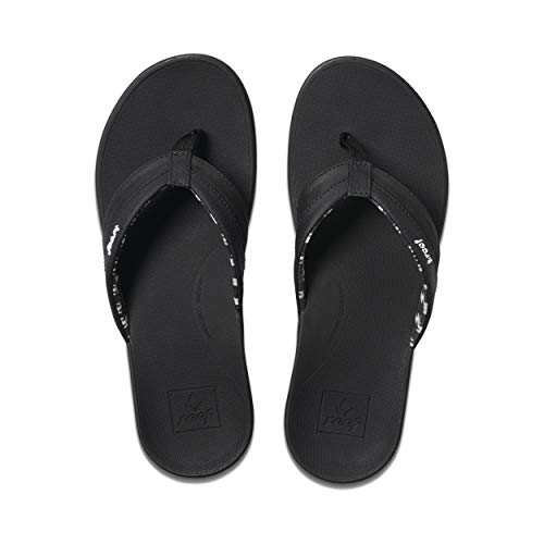 REEF Women's Ortho-Bounce Coast Sandals, Black, 8