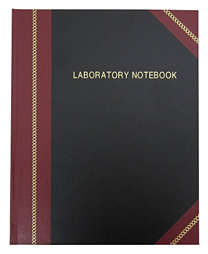 "BookFactory Lab Notebook/Laboratory Notebook - Professional Grade - 96 Pages, 8"" x 10"" (Ruled Format) Black and Burgundy Imitation Leather Cover, Smyth Sewn Hardbound Student (LRU-096-SRS-A-LKMST1)"