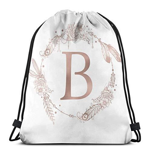 Liliylove Letra B - Bolsa de cordón Ligera con Monograma de Inicial, Color Oro Rosa, para Senderismo, Yoga, Gimnasio, natación, Viajes, Playa