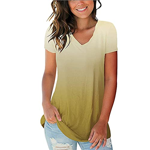 Ying Women T-Shirt Elegant Gradient Color V-Neck All-Match Short-Sleeved Women Blouse Summer Casual Generous Fashion Daily Jobs New Women Top D-Yellow S