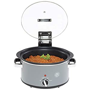 Hairy Bikers SDA1619 Hinged Slow Cooker Stick Coating, Dishwasher Safe Tempered Glass Lid and Removable Cooking Pot, with Non Skid Feet and Temperature Dial-(3.5L), Grey