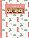 Undated Daily Planner: 8.5x11 One Page Per Day Diary / 365 Logs / 6AM to 7PM Hourly Schedule / Cowgirl Hat Pink Boot Green Cactus - Art Pattern / To ... / Time Management Gift For Organized People