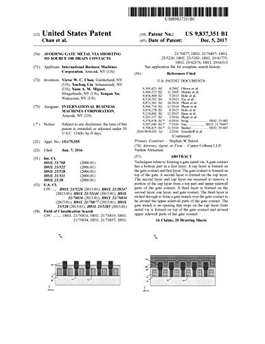 Avoiding gate metal via shorting to source or drain contacts: United States Patent 9837351 (English Edition)