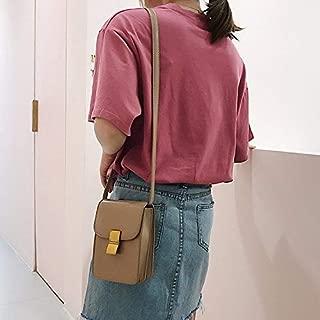 Fashion Single-Shoulder Bags Pure Color PU Lock Buckle Single Shoulder Bag Cellphone Bag Ladies Handbag Messenger Bag (Black) (Color : Khaki)