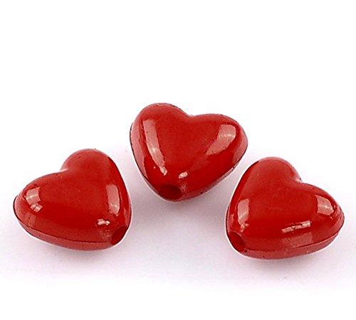 Sadingo Acrylperlen, Kunststoffperlen Herz, Herzperlen - Rot, poliert - 50 STK - 11 x 10 mm - Fädelperlen,Bastelperlen