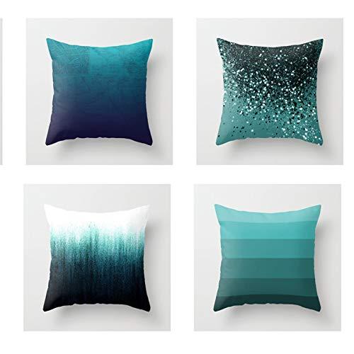QXbecky Fundas de Cojines Funda de Almohada Cuadrada Abstracta geométrica de Piel de melocotón Azul Turquesa sin núcleo 4 Piezas sofá de casa Funda de Almohada Decorativa 45 cm