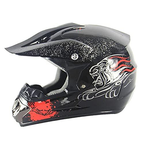 XHLLX Casco para Motocicletas para niños Cascos de Motos Juveniles Casco de Motocicleta de Cara Completa con Gafas Máscara de Guantes para Motocross Cross Country Street Bike Offroad ATV MTB,Negro,M