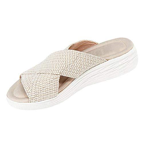 Geilisungren Damen Stretch Orthesen Slides Flip Flops Low Wedge Platform Sandalen Bequeme Hausschuhe rutschfeste Strand Open Toe Schuhe