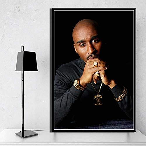 Leinwand Bedrucken 60x80cm kein Rahmen Amerikanischer Rapper Tupac Amaru Shakur 2Pac Wohnkultur für Kinderzimmer