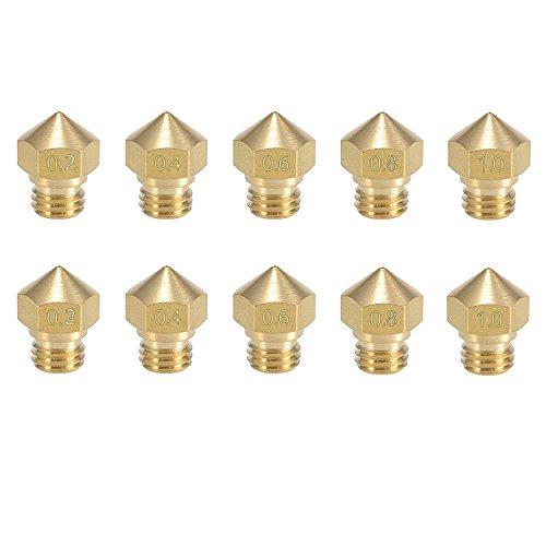 Tenlacum 10PCS MK10 Düse Multi Größe für 3D Drucker MakerBot Teile (0,2 mm 0,4 mm 0,6 mm 0,8 mm 1,0 mm) M7 Gewinde Messing Düse für Extruder Hotend (2 Stück je Größe)